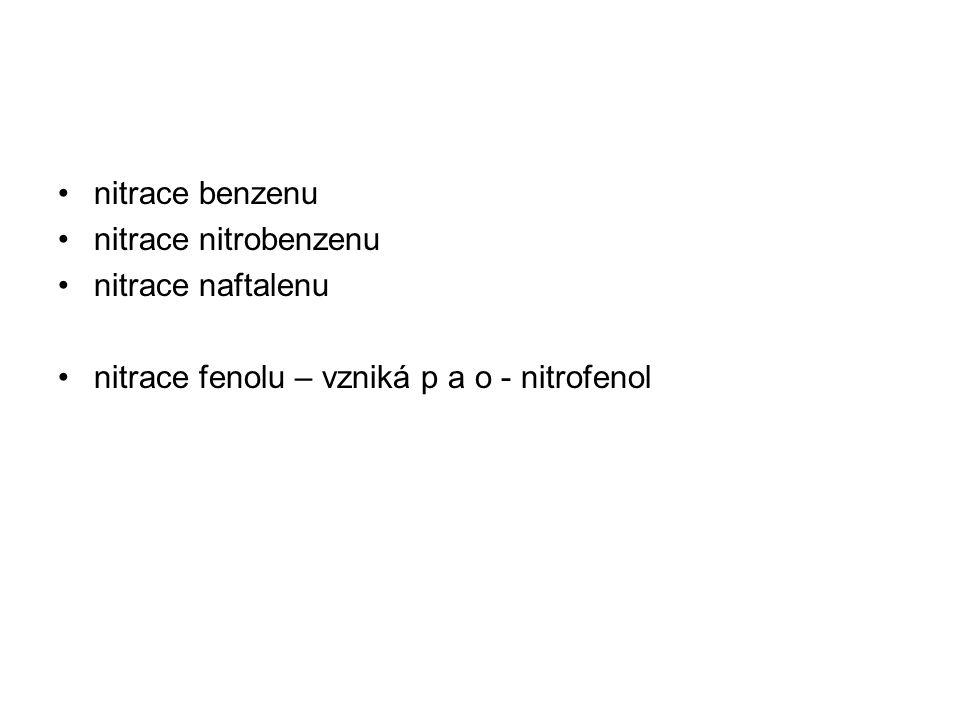 nitrace benzenu nitrace nitrobenzenu nitrace naftalenu nitrace fenolu – vzniká p a o - nitrofenol
