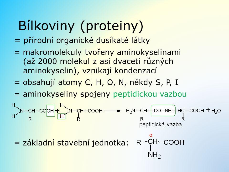 Bílkoviny (proteiny) = přírodní organické dusíkaté látky = makromolekuly tvořeny aminokyselinami (až 2000 molekul z asi dvaceti různých aminokyselin),