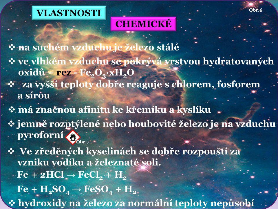 VLASTNOSTI CHEMICKÉ  na suchém vzduchu je železo stálé  ve vlhkém vzduchu se pokrývá vrstvou hydratovaných oxidů – rez - Fe 2 O 3 ·xH 2 O  za vyšší