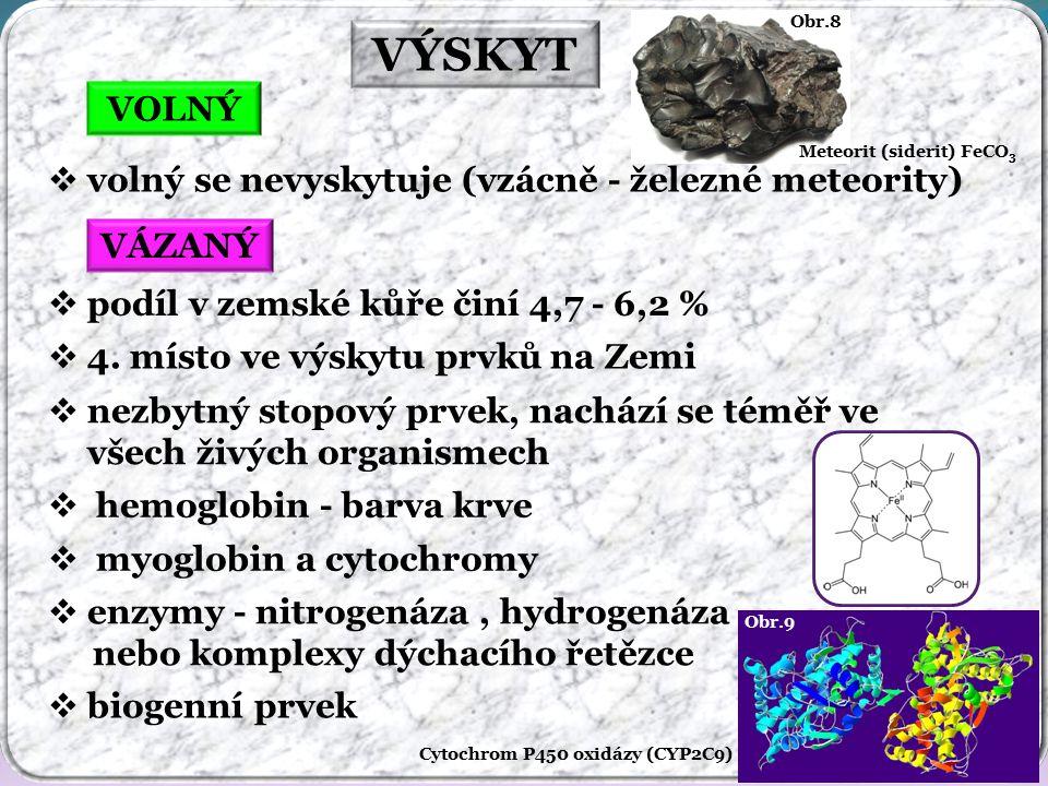 Obr.9 Cytochrom P450 oxidázy (CYP2C9) Obr.8 Meteorit (siderit) FeCO 3 VÝSKYT VOLNÝ VÁZANÝ  volný se nevyskytuje (vzácně - železné meteority)  podíl