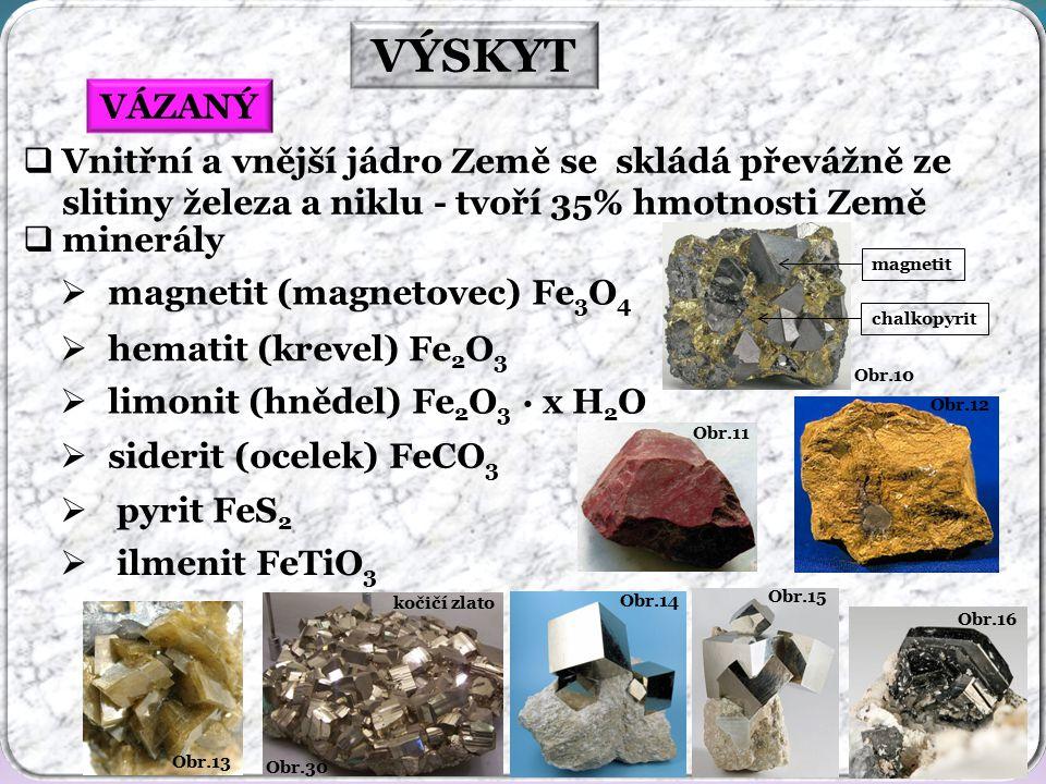 Obr.10 VÝSKYT Obr.16 Obr.15 Obr.14 Obr.30 kočičí zlato Obr.13 Obr.12 Obr.11 VÁZANÝ  minerály  magnetit (magnetovec) Fe 3 O 4  hematit (krevel) Fe 2