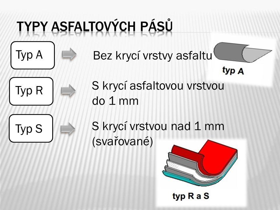 Typ A Bez krycí vrstvy asfaltu Typ R S krycí asfaltovou vrstvou do 1 mm Typ S S krycí vrstvou nad 1 mm (svařované)