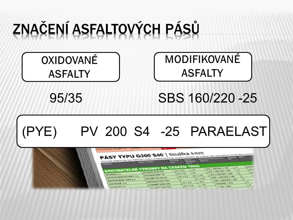 OXIDOVANÉ ASFALTY MODIFIKOVANÉ ASFALTY 95/35SBS 160/220 -25 (PYE)PV 200 S4 -25 PARAELAST