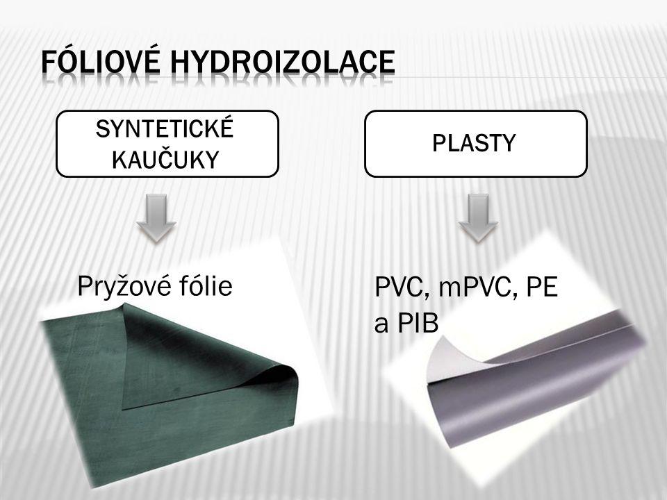 SYNTETICKÉ KAUČUKY PLASTY Pryžové fólie PVC, mPVC, PE a PIB