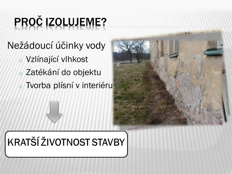 Nežádoucí účinky vody o Vzlínající vlhkost o Zatékání do objektu o Tvorba plísní v interiéru KRATŠÍ ŽIVOTNOST STAVBY