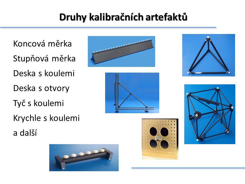 Druhy kalibračních artefaktů Koncová měrka Stupňová měrka Deska s koulemi Deska s otvory Tyč s koulemi Krychle s koulemi a další