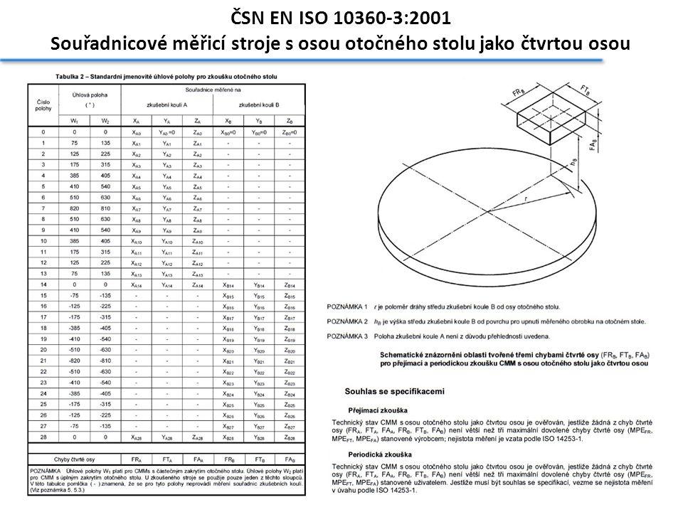 ČSN EN ISO 10360-3:2001 Souřadnicové měřicí stroje s osou otočného stolu jako čtvrtou osou
