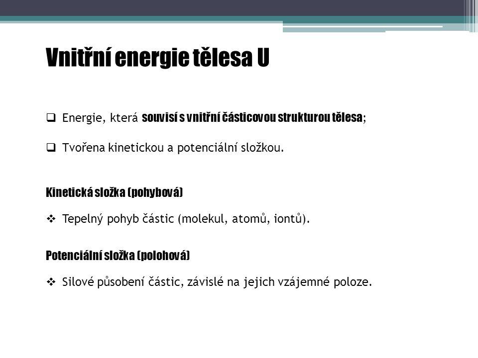 Vnitřní energie tělesa U Kinetická složka (pohybová)  Silové působení částic, závislé na jejich vzájemné poloze.