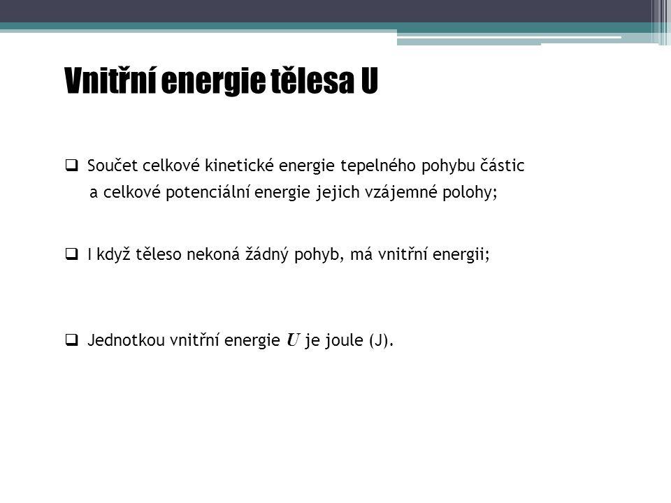 Vnitřní energie tělesa U  Jednotkou vnitřní energie U je joule (J).