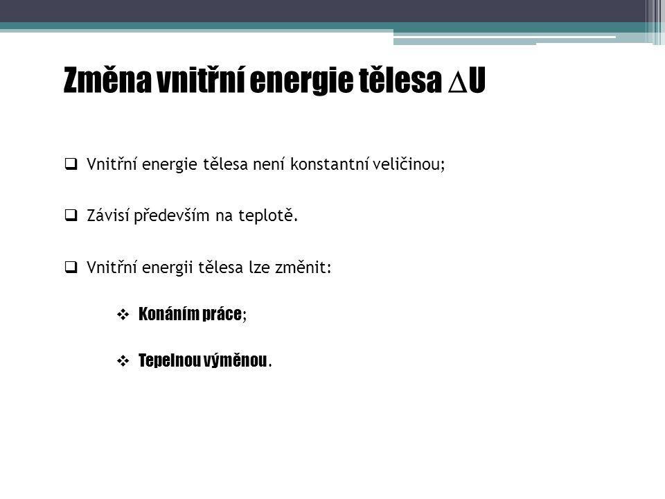 Změna vnitřní energie tělesa  U  Tepelnou výměnou.