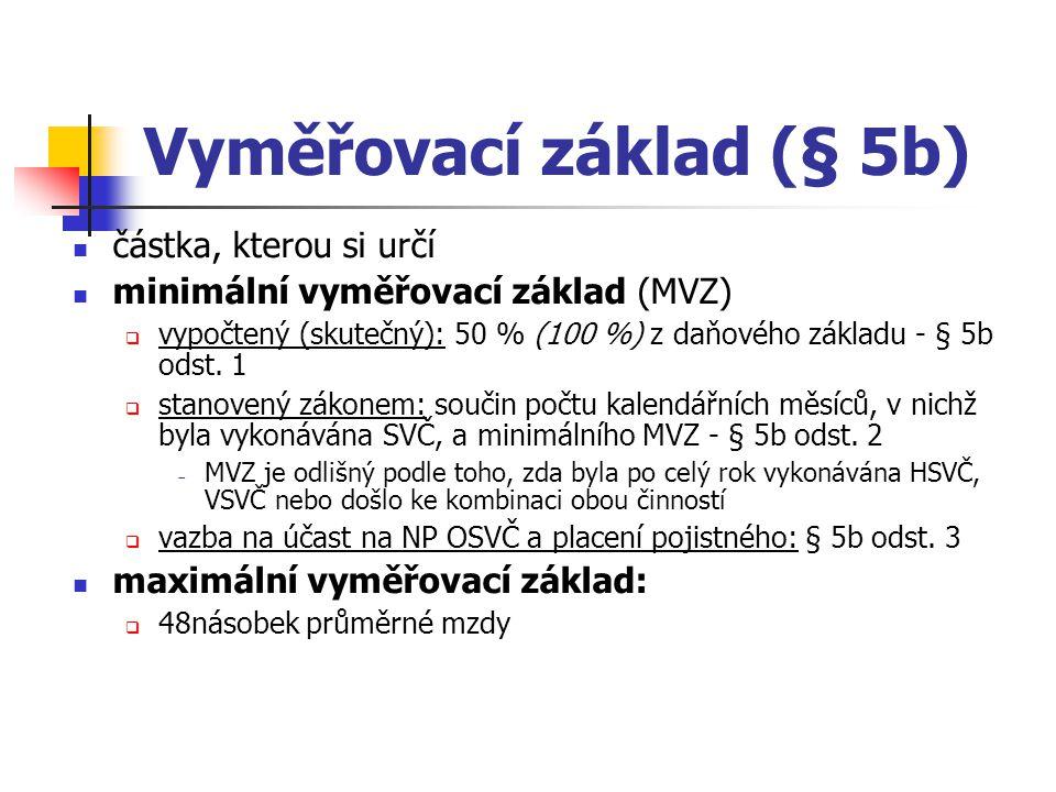 Vyměřovací základ (§ 5b) částka, kterou si určí minimální vyměřovací základ (MVZ)  vypočtený (skutečný): 50 % (100 %) z daňového základu - § 5b odst.