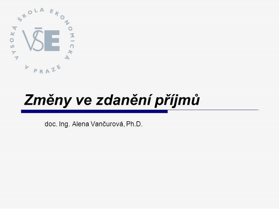 Změny ve zdanění příjmů doc. Ing. Alena Vančurová, Ph.D.
