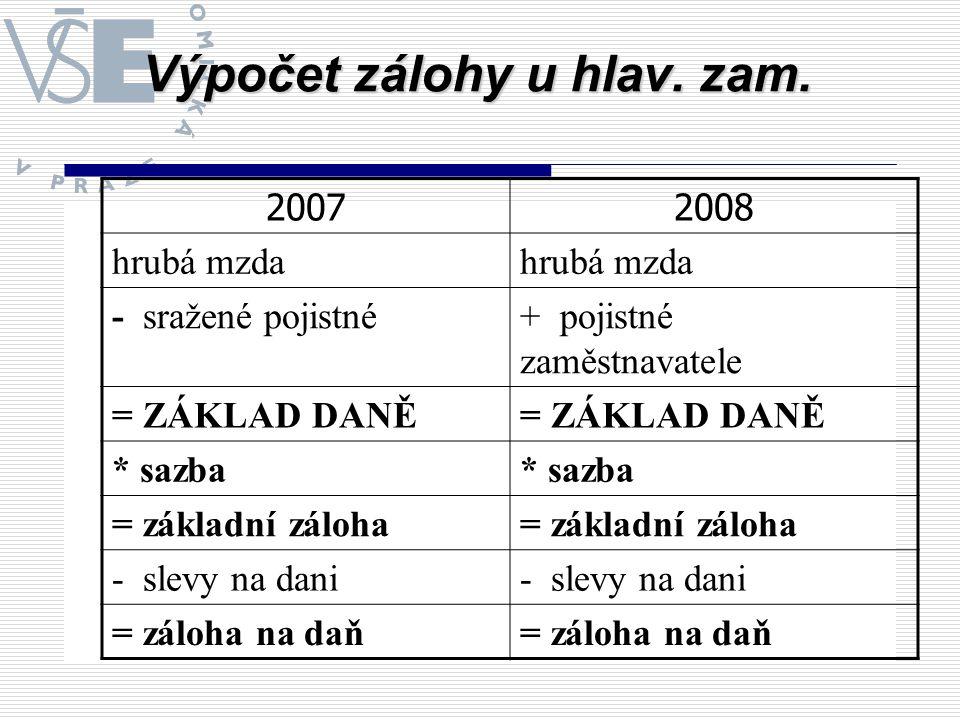 Výpočet zálohy u hlav. zam. 20072008 hrubá mzda - sražené pojistné+ pojistné zaměstnavatele = ZÁKLAD DANĚ * sazba = základní záloha - slevy na dani =
