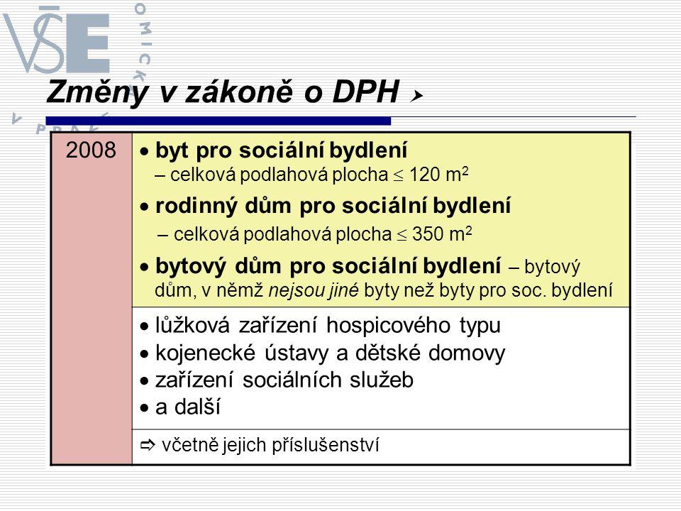 Změny v zákoně o DPH  2008  byt pro sociální bydlení – celková podlahová plocha  120 m 2  rodinný dům pro sociální bydlení – celková podlahová plo