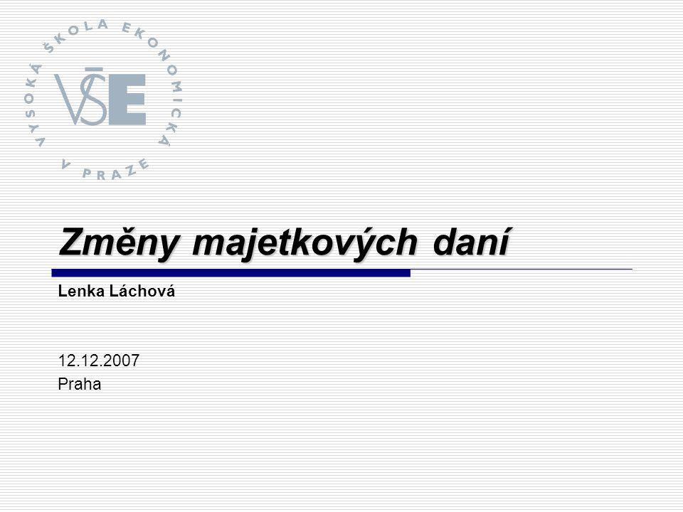 Změny majetkových daní Lenka Láchová 12.12.2007 Praha