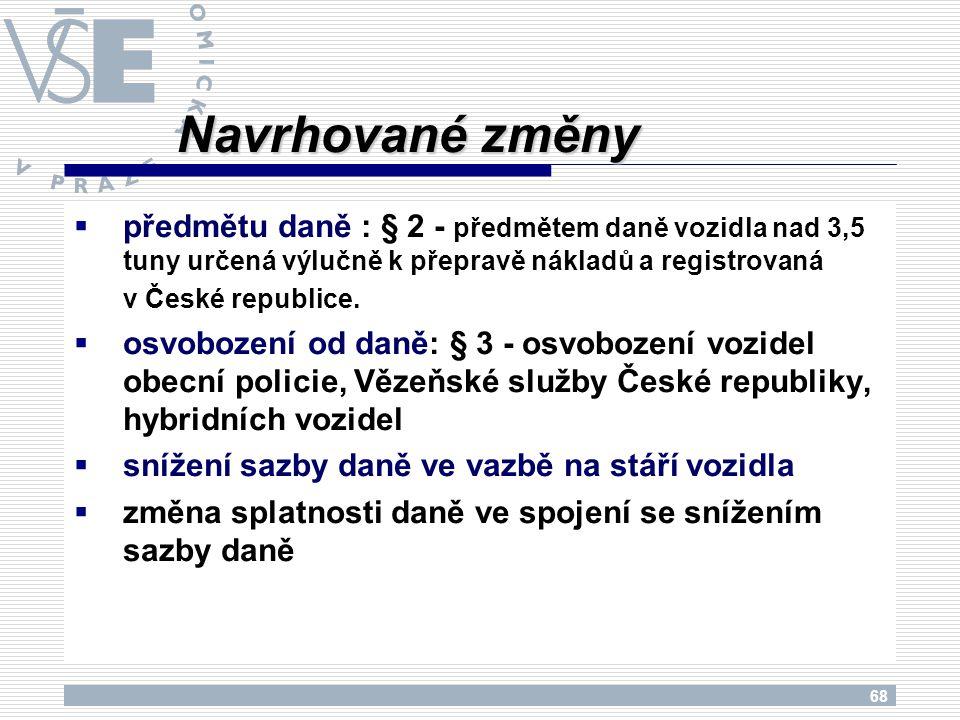 68  předmětu daně : § 2 - předmětem daně vozidla nad 3,5 tuny určená výlučně k přepravě nákladů a registrovaná v České republice.  osvobození od dan
