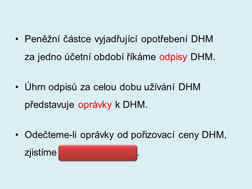 Peněžní částce vyjadřující opotřebení DHM za jedno účetní období říkáme odpisy DHM.
