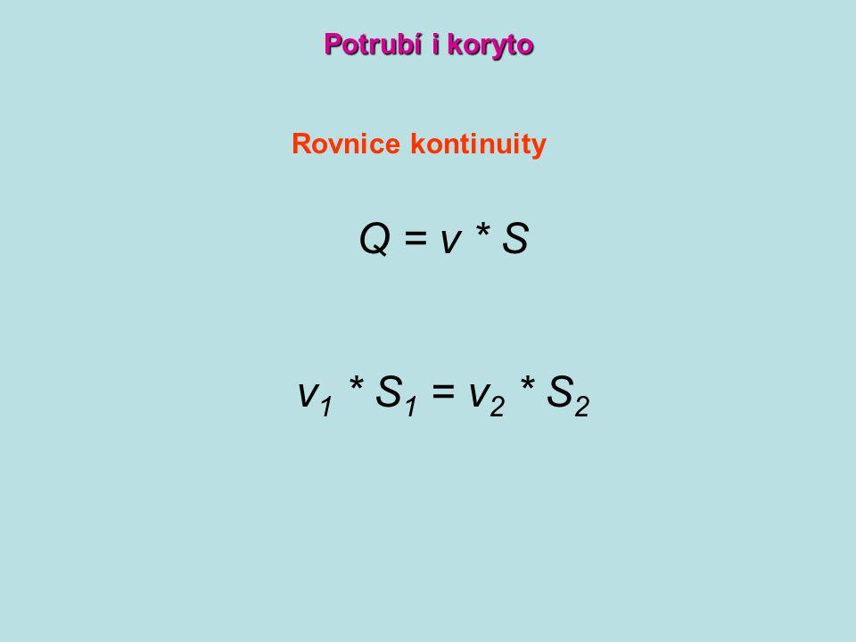 Rovnice kontinuity Q = v * S v 1 * S 1 = v 2 * S 2 Potrubí i koryto