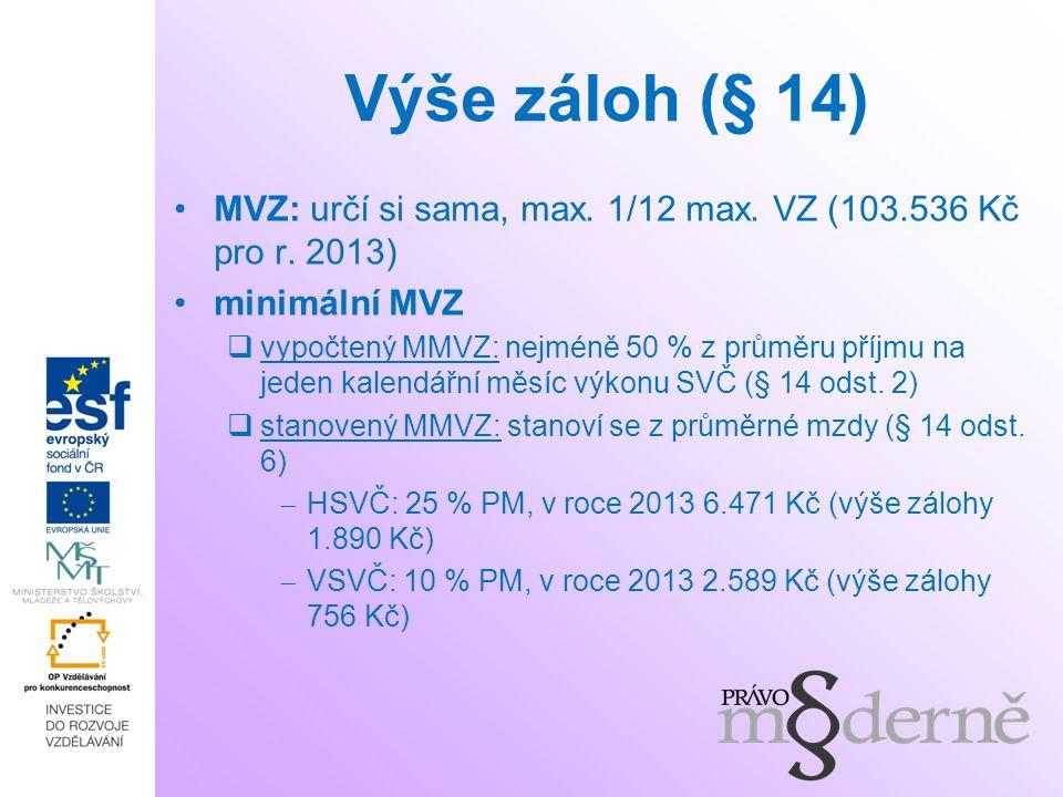Výše záloh (§ 14) MVZ: určí si sama, max. 1/12 max.