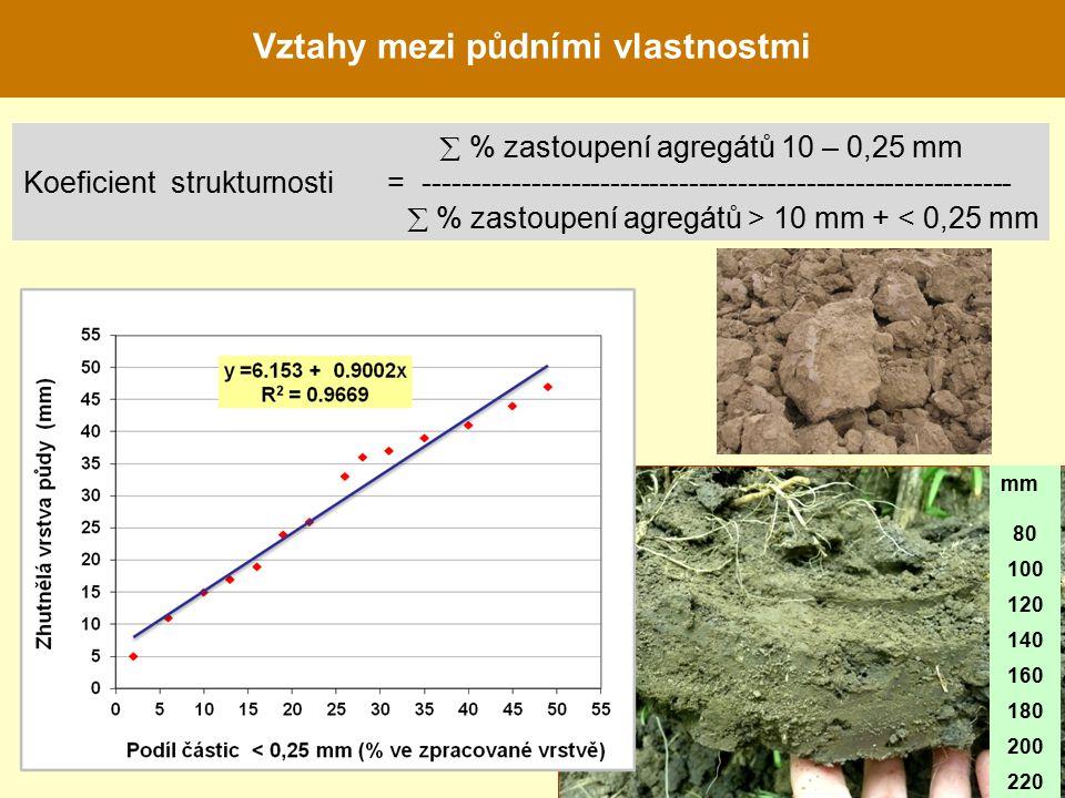 mm 80 100 120 140 160 180 200 220  % zastoupení agregátů 10 – 0,25 mm Koeficient strukturnosti = ------------------------------------------------------------  % zastoupení agregátů > 10 mm + < 0,25 mm Vztahy mezi půdními vlastnostmi