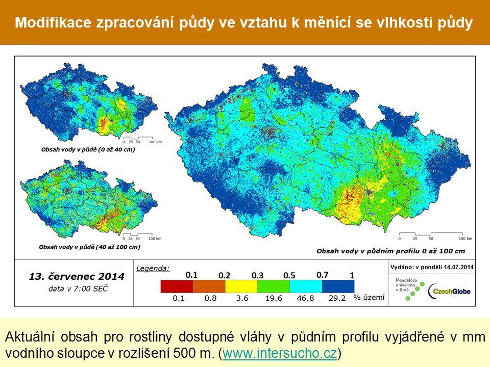 Modifikace zpracování půdy ve vztahu k měnící se vlhkosti půdy Aktuální obsah pro rostliny dostupné vláhy v půdním profilu vyjádřené v mm vodního sloupce v rozlišení 500 m.