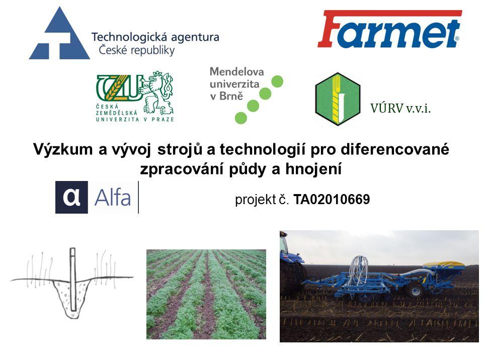 Výzkum a vývoj strojů a technologií pro diferencované zpracování půdy a hnojení projekt č.