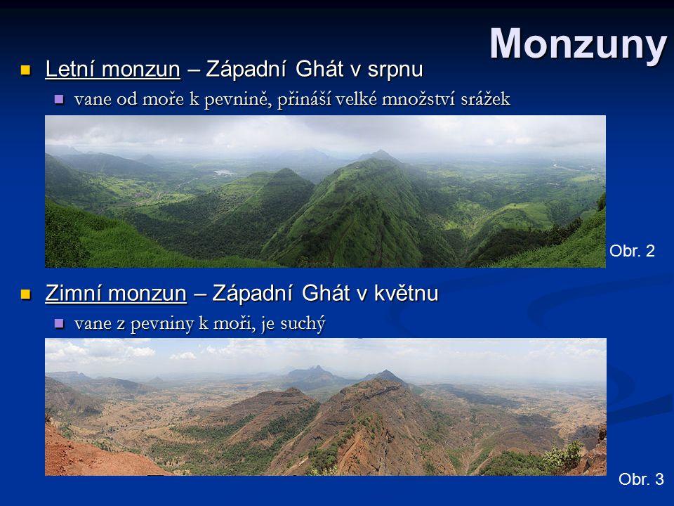 Monzuny Letní monzun – Západní Ghát v srpnu Letní monzun – Západní Ghát v srpnu vane od moře k pevnině, přináší velké množství srážek vane od moře k p