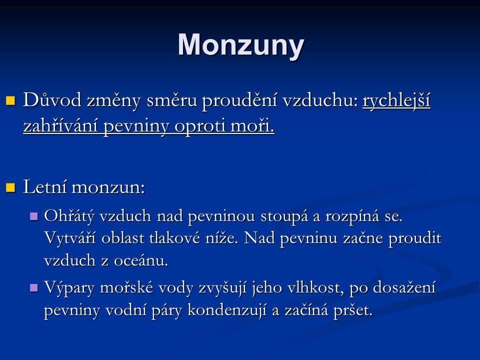 Monzuny Zimní monzun: Zimní monzun: Pevnina se ochlazuje rychleji než oceán, takže suchý monzun proudí z nitra kontinentu k moři.