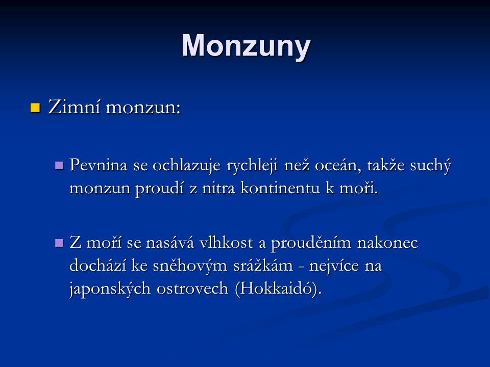 Monzuny Zimní monzun: Zimní monzun: Pevnina se ochlazuje rychleji než oceán, takže suchý monzun proudí z nitra kontinentu k moři. Pevnina se ochlazuje