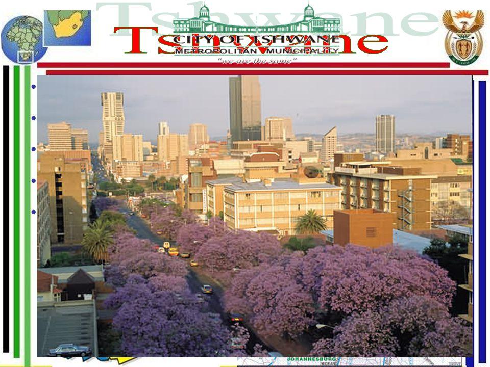 Oficiální hlavní město Metropolitní celek 13 měst Centrum: Pretoria ( hl. město do 2005 ) Rozloha: 3200 km 2 Počet ob.: 2.2 mil.