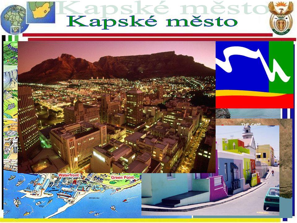 Legislativní hlavní město Jedno z nejkrásnějších měst světa Mother city: 1. evropská osada v JAR Mys Dobré naděje, Stolová hora Počet ob.: 2.9 mil. Ro