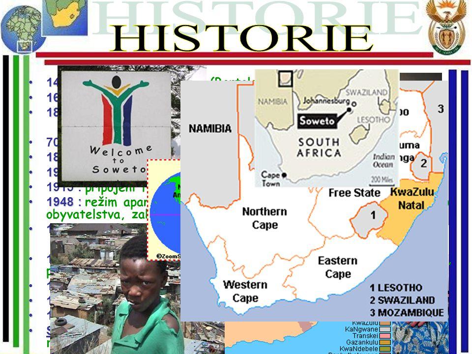 1487 :1487 : Objevena Portugalci (Bartolomeo Diaz) 1652 :1652 : Evropská (Nizozemská) kolonizece 1836+ :1836+ :,,Velký trek,, (ústup Búrú) – založen T