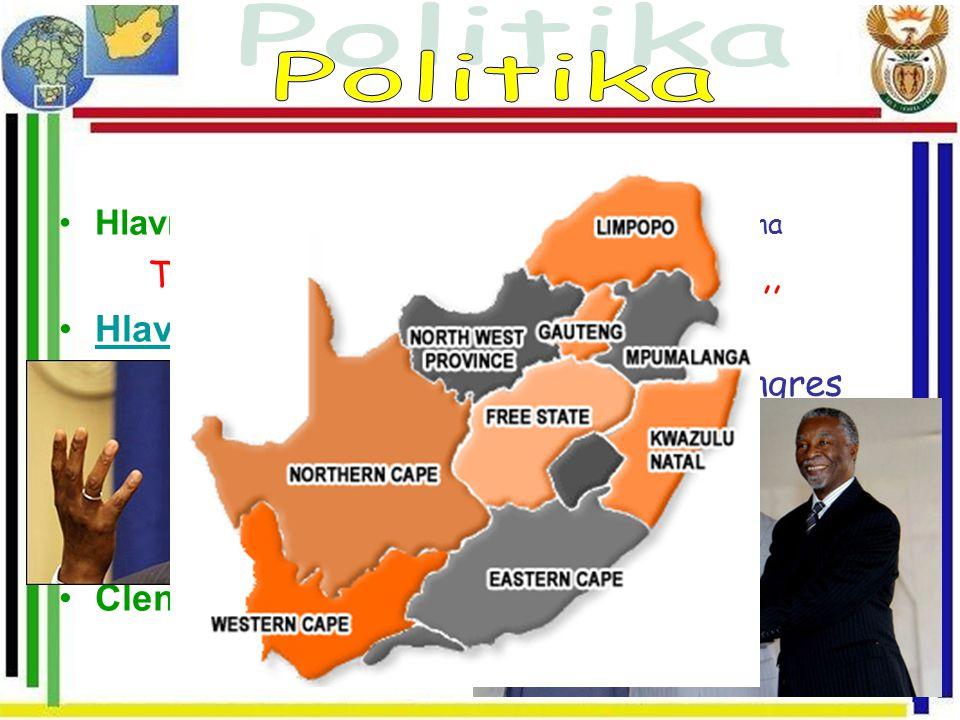Hlavní město: 2005 Pretorium přejmenováno na Tshwane-,, jsme stejný, malá opice,, Hlava státu: Thabo Mbeki (16.5 1999)Hlava státu: Vládnoucí strana: A