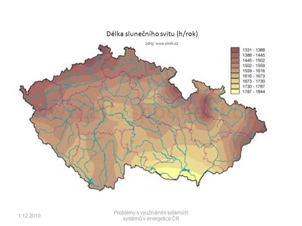 Délka slunečního svitu (h/rok) zdroj: www.chmi.cz 1.12.2010 Problémy s využíváním solárních systémů v energetice ČR