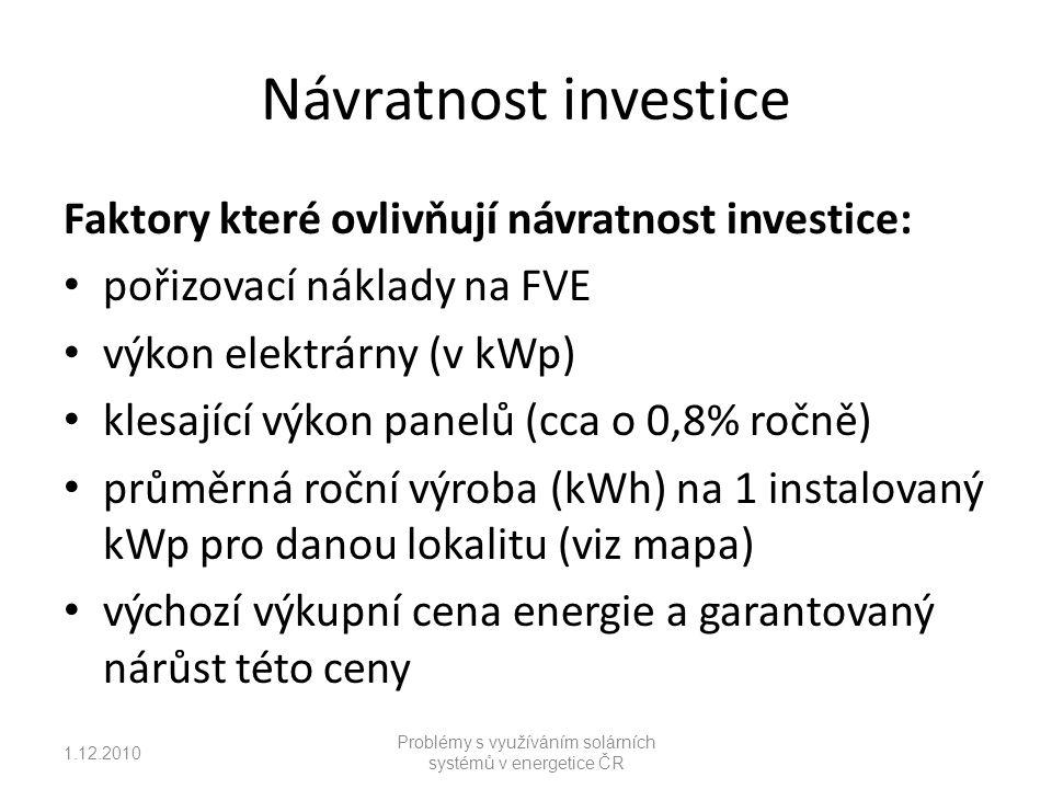 Návratnost investice Faktory které ovlivňují návratnost investice: pořizovací náklady na FVE výkon elektrárny (v kWp) klesající výkon panelů (cca o 0,8% ročně) průměrná roční výroba (kWh) na 1 instalovaný kWp pro danou lokalitu (viz mapa) výchozí výkupní cena energie a garantovaný nárůst této ceny 1.12.2010 Problémy s využíváním solárních systémů v energetice ČR