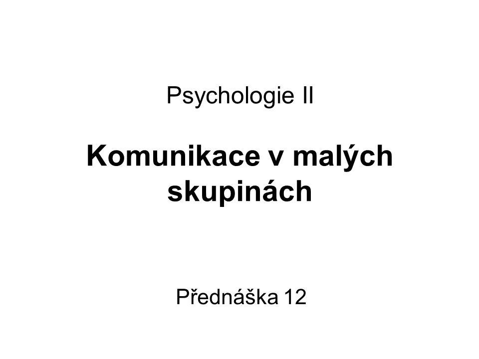 Psychologie II Komunikace v malých skupinách Přednáška 12