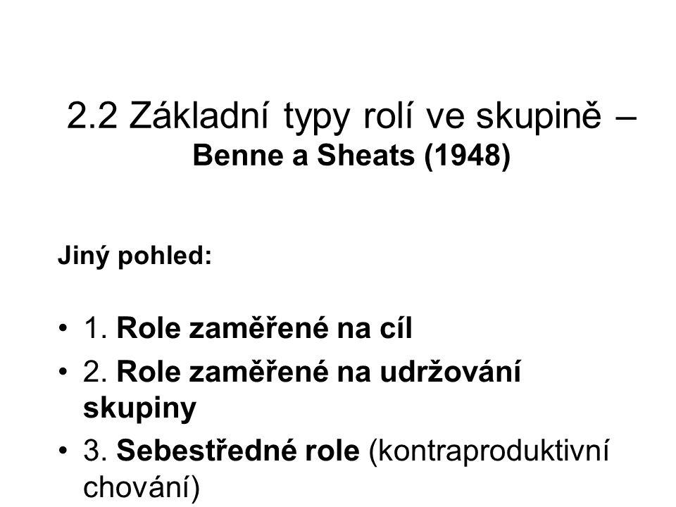 2.2 Základní typy rolí ve skupině – Benne a Sheats (1948) Jiný pohled: 1. Role zaměřené na cíl 2. Role zaměřené na udržování skupiny 3. Sebestředné ro