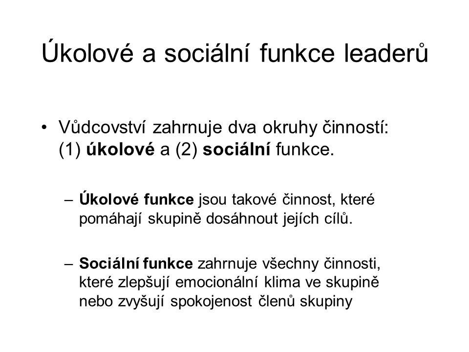 Úkolové a sociální funkce leaderů Vůdcovství zahrnuje dva okruhy činností: (1) úkolové a (2) sociální funkce. –Úkolové funkce jsou takové činnost, kte