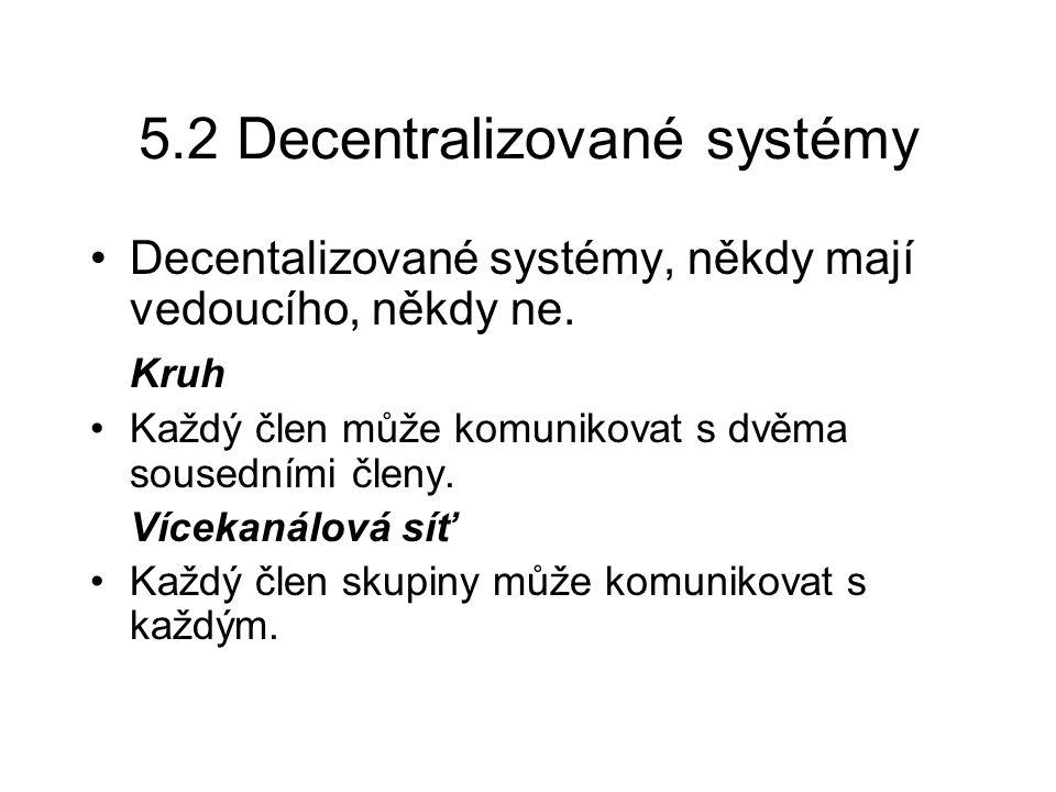 5.2 Decentralizované systémy Decentalizované systémy, někdy mají vedoucího, někdy ne. Kruh Každý člen může komunikovat s dvěma sousedními členy. Vícek