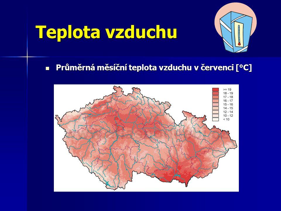 Teplota vzduchu Průměrná měsíční teplota vzduchu v červenci [°C] Průměrná měsíční teplota vzduchu v červenci [°C]