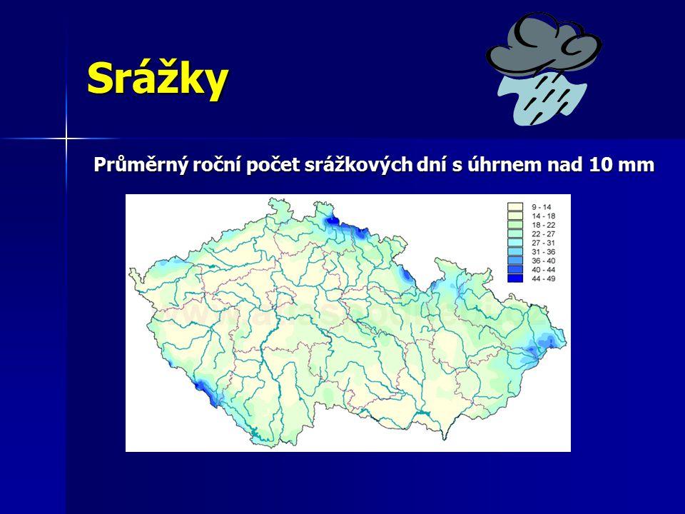 Srážky Průměrný roční počet srážkových dní s úhrnem nad 10 mm