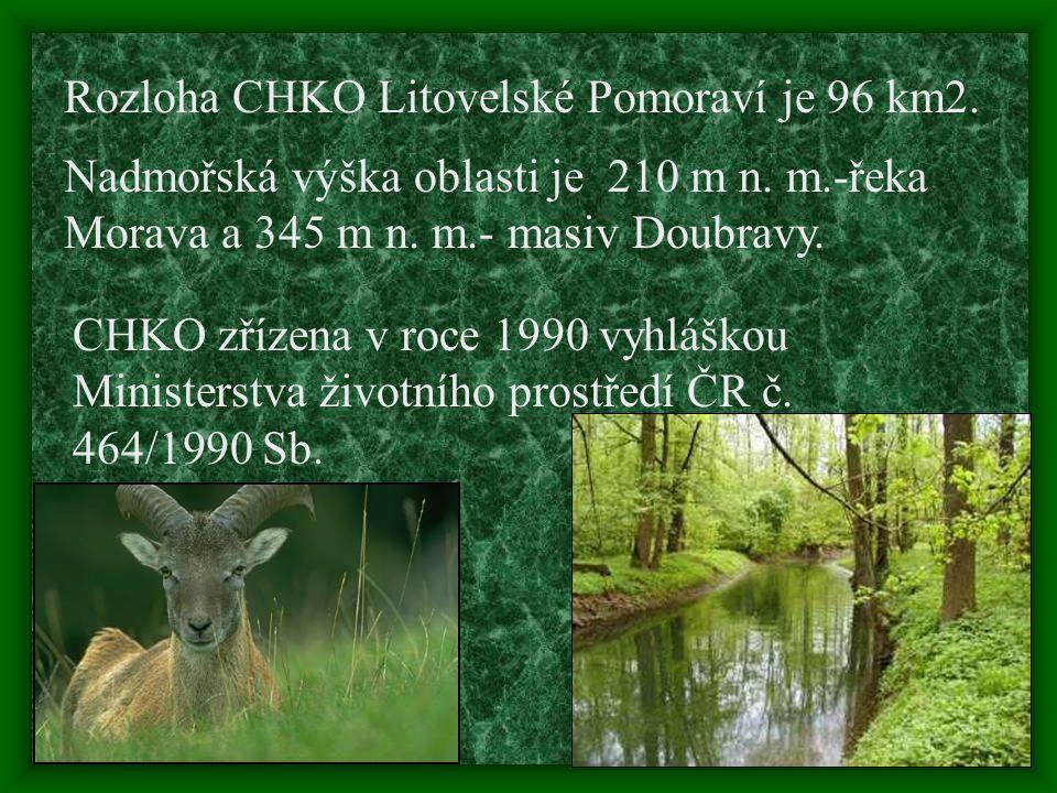 Rozloha CHKO Litovelské Pomoraví je 96 km2.Nadmořská výška oblasti je 210 m n.
