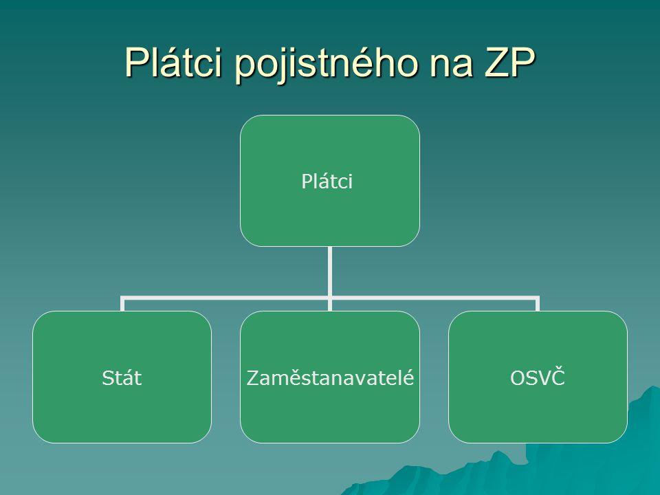 Plátci pojistného na ZP Plátci StátZaměstanavateléOSVČ