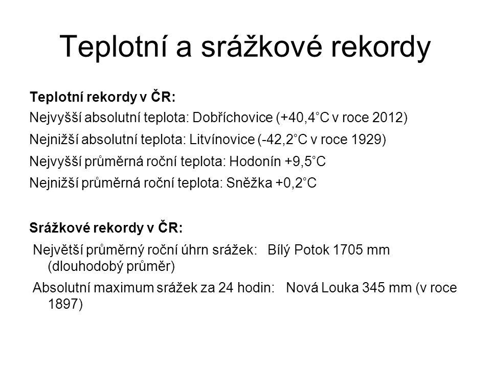 Teplotní a srážkové rekordy Teplotní rekordy v ČR: Nejvyšší absolutní teplota: Dobříchovice (+40,4°C v roce 2012) Nejnižší absolutní teplota: Litvínovice (-42,2°C v roce 1929) Nejvyšší průměrná roční teplota: Hodonín +9,5°C Nejnižší průměrná roční teplota: Sněžka +0,2°C Srážkové rekordy v ČR: Největší průměrný roční úhrn srážek: Bílý Potok 1705 mm (dlouhodobý průměr) Absolutní maximum srážek za 24 hodin: Nová Louka 345 mm (v roce 1897)