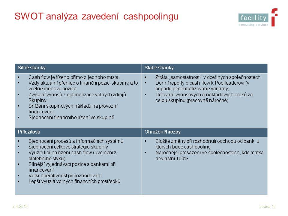 7.4.2015strana 12 SWOT analýza zavedení cashpoolingu Silné stránkySlabé stránky Cash flow je řízeno přímo z jednoho místa Vždy aktuální přehled o fina