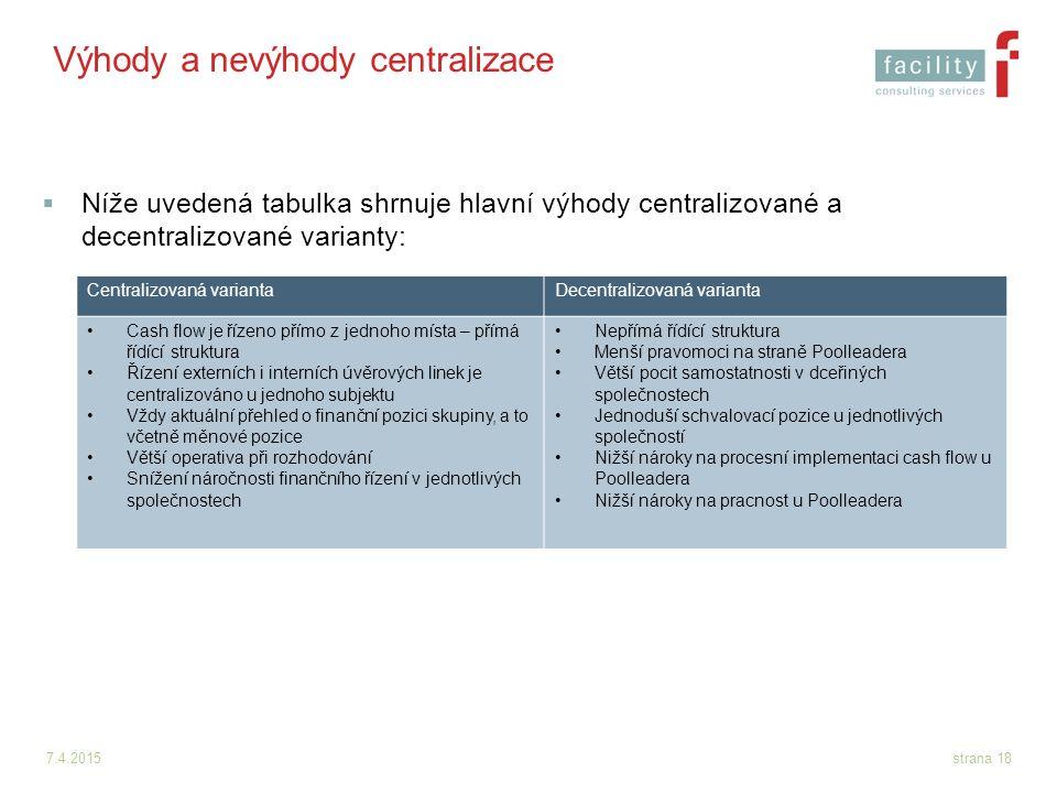 7.4.2015strana 18 Výhody a nevýhody centralizace  Níže uvedená tabulka shrnuje hlavní výhody centralizované a decentralizované varianty: Centralizova