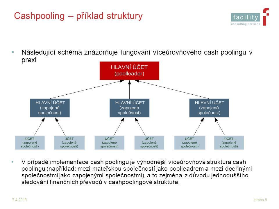7.4.2015strana 9 Cashpooling – příklad struktury  Následující schéma znázorňuje fungování víceúrovňového cash poolingu v praxi  V případě implementa