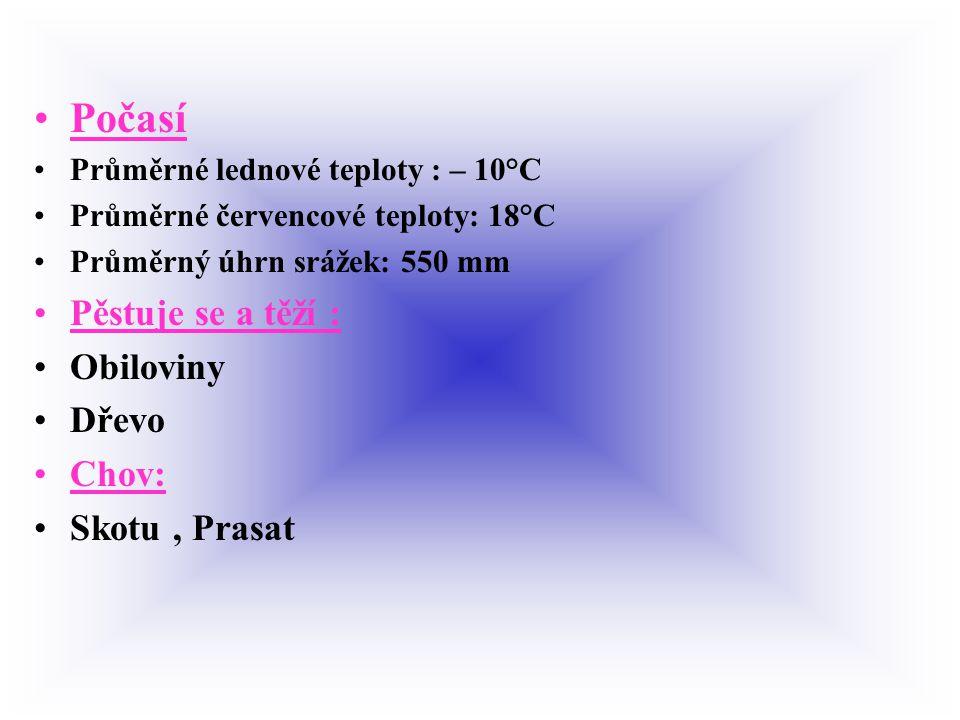 Počasí Průměrné lednové teploty : – 10°C Průměrné červencové teploty: 18°C Průměrný úhrn srážek: 550 mm Pěstuje se a těží : Obiloviny Dřevo Chov: Skotu, Prasat