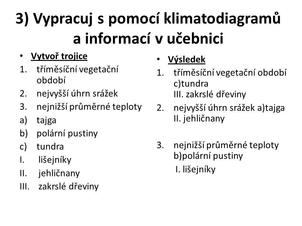 3) Vypracuj s pomocí klimatodiagramů a informací v učebnici Vytvoř trojice 1.tříměsíční vegetační období 2.nejvyšší úhrn srážek 3.nejnižší průměrné teploty a)tajga b)polární pustiny c)tundra I.lišejníky II.jehličnany III.zakrslé dřeviny Výsledek 1.tříměsíční vegetační období c)tundra III.