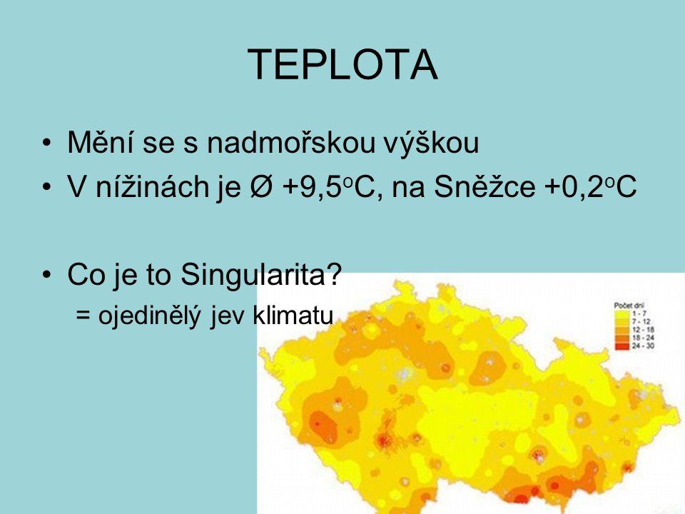 TEPLOTA Mění se s nadmořskou výškou V nížinách je Ø +9,5 o C, na Sněžce +0,2 o C Co je to Singularita? = ojedinělý jev klimatu